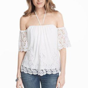 White House Black Market Off Shoulder Eyelet Top